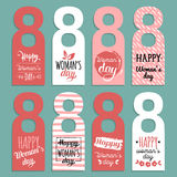 Vector Happy Woman`s day cards templates. Hand drawn 8 March gift tags. Romantic labels,posters. Vintage love background Royalty Free Stock Photography
