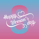 Vector Happy Woman`s day greeting card, festive poster etc on color background. Royalty Free Stock Images