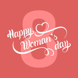 Vector Happy Woman`s day greeting card, festive poster etc on color background. Royalty Free Stock Photo