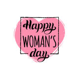 Vector Happy Woman`s day handwritten lettering card. Vintage calligraphy 8 March on heart background. Vector Happy Woman`s day handwritten lettering card Stock Photos