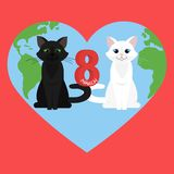 Vector Happy Women's Day. Happy Women's Day greeting card. Cute cartoon black cat and white cat. 8 march. Flat  stock illustration Stock Images