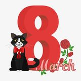 Vector Happy Women's Day. Happy Women's Day greeting card. Cute cartoon black and white cat with red bow. 8 march. Flat  stock illustration Royalty Free Stock Photo