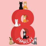 Vector Happy Women's Day. Happy Women's Day greeting card. Cute cartoon cats around number 8 of march. Flat  stock illustration Stock Photo