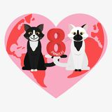Vector Happy Women's Day. Happy Women's Day greeting card. Cute cartoon cats. 8 march. Flat  stock illustration Stock Photos