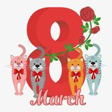Vector Happy Women's Day. Happy Women's Day greeting card. Cute cartoon cats pink, grey, red, blue. 8 march. Flat  stock illustration Royalty Free Stock Image