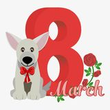Vector Happy Women's Day. Happy Women's Day greeting card. Cute cartoon dog with red bow. 8 march. Flat stock illustration stock illustration