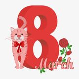 Vector Happy Women's Day. Happy Women's Day greeting card. Cute red cat with red bow. 8 march. Flat  stock illustration Stock Photography