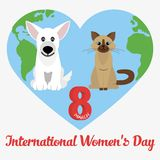Vector Happy Women's Day. Happy Women's Day greeting card. Dog and cat. 8 march. Flat  stock illustration Stock Photos