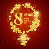 Vector Happy Women`s Day greeting card with female gender symbol. Made with sparkling gold glitter flowers on red background. 8 march luxury background royalty free illustration