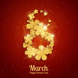 Vector Happy Women`s Day greeting card with figure eight made with sparkling gold glitter flowers. On red background. 8 march luxury background royalty free illustration