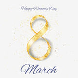 Vector Happy Women`s Day greeting card. With sparkling glitter gold ribbon figure eight. 8 march luxury background Royalty Free Stock Image