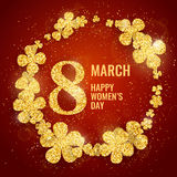 Vector Happy Womens Day greeting card. With sparkling glitter flower gold textured circle on red background. 8 march luxury background Stock Photos
