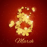 Vector Happy Womens Day greeting card. With sparkling glitter flower gold textured figure eight on red background. 8 march luxury background stock illustration