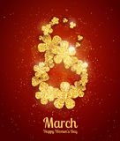 Vector Happy Womens Day greeting card. With sparkling glitter flower gold textured figure eight on red background. 8 march luxury background Stock Photography