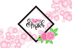 Vector happy womens day lettering with frame and chrysanthemum flower.  vector illustration