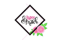 Vector happy womens day lettering with frame and chrysanthemum flower.  Royalty Free Stock Photo