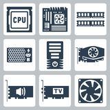 Vector hardware icons set Royalty Free Stock Images