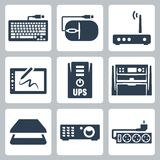 Vector hardware icons set Stock Images
