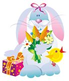Vector hare with flowers Royalty Free Stock Images
