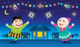 A boy and a girl is playing with fireworks during their Raya festival celebration. With village scene. Vector for Hari Raya Puasa or Aidilfitri Royalty Free Stock Images