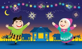 A boy and a girl is playing with fireworks during their Raya festival celebration. With village scene. Vector for Hari Raya Puasa or Aidilfitri Stock Photography