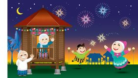 A boy and a girl is playing with fireworks during their Raya festival celebration. With village scene. Vector for Hari Raya Puasa or Aidilfitri Royalty Free Stock Image