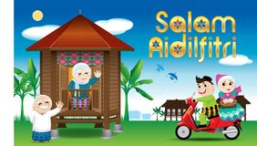 A couple is just arrive their home town, ready to celebrate Raya festival with their parents. With village scene. Vector for Hari Raya Puasa or Aidilfitri. The Stock Image