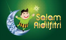 A Muslim boy playing fireworks on a swinging moon, with Malay pattern background. Vector for Hari Raya Puasa or Aidilfitri. The words `Salam Aidilfitri` means Stock Image