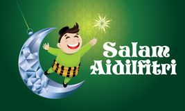 A Muslim boy playing fireworks on a swinging moon, with Malay pattern background. Vector for Hari Raya Puasa or Aidilfitri. The words `Salam Aidilfitri` means Royalty Free Stock Image