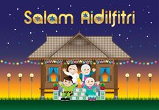 A Muslim family celebrating Raya festival in their traditional Malay style house. With village scene. The words