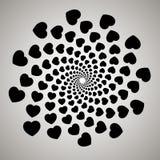 Vector hart Werveling, draaikolkachtergrond Roterende spiraal Patroon van het wervelen van harten royalty-vrije illustratie