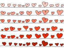 Vector harten, in een lijn als achtergrond royalty-vrije illustratie