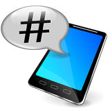 Vector hashtag with phone Royalty Free Stock Image