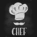 Vector hat chef. Vector hand drawn illustration.  Hat chef is drawn on the chalk Board. The idea for a cafe, restaurant, kitchen, poster Royalty Free Stock Photo