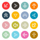 Vector Hatched Arrows Set in Colorful Circles Stock Image