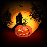 Vector Haunted House. Vector Haunted House on a Graveyard hill at night with full moon. EPS 8  file included Stock Photos