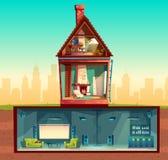Vector Haus im Querschnitt, Keller, Dachboden vektor abbildung