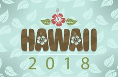 Vector Hawaii 2018 with hibiscus flowers and leaves stock photo