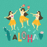 Vector hawaii illustration. Summer background with dancing girls and lettering - ALOHA. Stock Photo