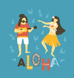 Vector hawaii  illustration. Summer background with dancing girls and men playing ukulele. Stock Photography