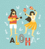Vector hawaii  illustration. Summer background with dancing girls and men playing ukulele. Royalty Free Stock Images