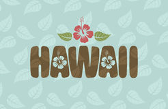 Vector Hawaii word with hibiscus flowers and leaves Stock Images