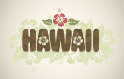 Vector Hawaii word with hibiscus flowers. On vintage background Stock Photography