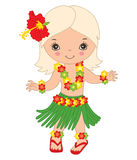 Vector Hawaiian Cute Little Girl Dancing Hula, Luau Party. Vector Hawaiian cute little girl in grass skirt, with hibiscus in hair and flower garland dancing hula Royalty Free Stock Photography