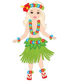 Vector Hawaiian Girl, Dancing Hula, Luau Party, Hibiscus Royalty Free Stock Photo
