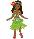 Vector Hawaiian Girl, Dancing Hula, Luau Party, Hibiscus Stock Photography
