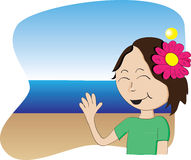 Vector Hawaiian Girl. Hawaiian girl with flower waving from a beach Royalty Free Stock Photography