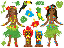 Vector Hawaiian Girls Dancing Hula, Luau Party, Tiki, Parrot, Toucan, Hibiscus. Vector Hawaiian beautiful girls in grass skirt, with hibiscus in hair and flower Royalty Free Stock Photo