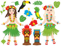 Vector Hawaiian Girls Dancing Hula, Luau Party, Tiki, Parrot, Toucan, Hibiscus. Vector Hawaiian beautiful girls in grass skirt, with hibiscus in hair and flower Stock Photo