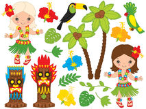 Vector Hawaiian Little Girls Dancing Hula, Luau Party, Tiki, Parrot, Toucan. Vector Hawaiian cute little girl in grass skirt, with hibiscus in hair and flower Stock Photography